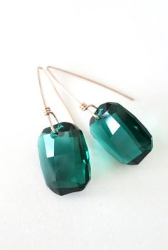 Rose Gold Filled Swarovski Emerald Crystal Drop Earrings - hand wired earrings, long earrings, love, quirky, handmade, garden wedding party, www.colormemissy.com