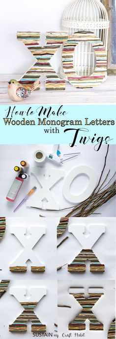 So simple and rustic! Wooden monogram letters embellished with painted twigs. Perfect wedding, nursery or gallery wall decor. #rusticdecor #budgetfriendly #rusticwedding #naturecrafts #farmhousestyle