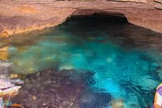 cool blue water cave