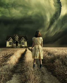 The Storm At Home Photograph. This scared me. Do you run for the little shabby house that is in the direction of the tornado ? Find another place and fast because the funnel is forming ? The little girl all alone with limited options and her parents worrying about her.-L