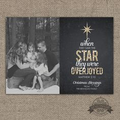 Christian Christmas Cards - Gold Glitter Chalkboard - Matthew 2:10 - When they saw star the they were overjoyed - Scripture Religious -Photo