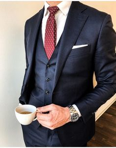 """""""Wearing a red tie with a navy blue suit wihile having tea"""" Suit With Red Tie, Blue Suit Men, Navy Blue Suit, Suit And Tie, Navy Suits, Mens Fashion Suits, Mens Suits, Best Wedding Suits, Stylish Mens Outfits"""