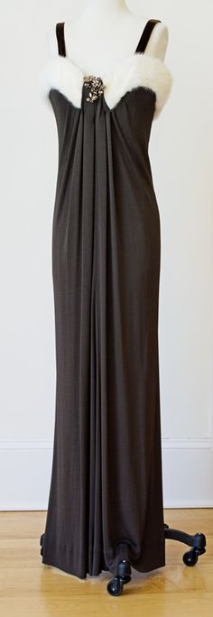 1970s Mod Fur Trim Mocha Jersey Maxi Gown Column Dress $325.00 with Schreiner Trembler Brooch @ www.vintagevirtuosa.com.  We also show this dress with a vintage #Napier Brooch #1970s #VintageDresses #VintageFurTrimDress #SchreinerTrembler #Napier