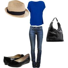 Fedora look. So cute! Just needs some chunky jewelry!