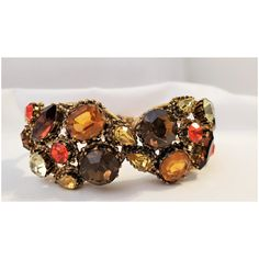 Vintage Weiss Autumn Color Rhinestone Clamper Bracelet Vintage Fall, Vintage Type, Fall Leaves, Autumn Inspiration, Artisan Jewelry, Light In The Dark, Topaz, Jewelry Bracelets, Jewels