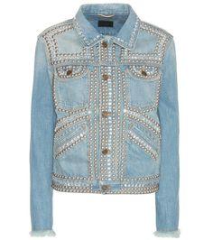 SAINT LAURENT Embellished Denim Jacket. #saintlaurent #cloth #jackets