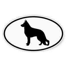 German Shepherd Silhouette Oval Sticker