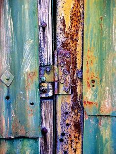 Rust - 'Hanging Out' by Jay Taylor Art Texture, Rust Paint, Peeling Paint, Rusty Metal, Old Doors, Abstract Photography, Textures Patterns, Color Inspiration, Street Art