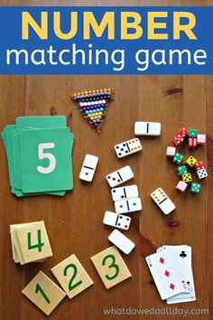 Kindergarten number game: math quantities and numerals.  I have:  flashcards, dice (some w/dots, some w/numerals), playing cards, felt cards, dominos, geometric figures, magnet numerals