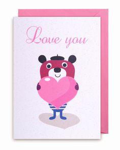 #Card #Love you #Valentine by #Ingela Wenskaart Bear Love you from www.kidsdinge.com http://instagram.com/kidsdinge https://www.facebook.com/kidsdingecom-Origineel-speelgoed-hebbedingen-voor-hippe-kids-160122710686387/