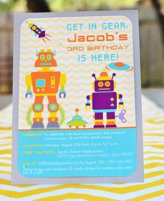 Robot birthday invitations by The Inviting Pear