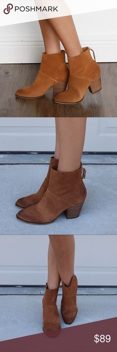 """Whiskey Distressed Ankle Bootie A stacked block heel looks fresh and adds walkable stability and just-right height to a modern bootie shaped with angled seams for interest. Whiskey  2 1/2"""" heel  5 1/4"""" bootie shaft. Back zip closure. Leather/Suede upper Chinese Laundry Shoes Ankle Boots & Booties"""