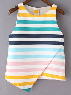 Shop Multicolor Stripe Sleeveless Zipper Back Irregular Hem Tank Top online. SheIn offers Multicolor Stripe Sleeveless Zipper Back Irregular Hem Tank Top & more to fit your fashionable needs. Fashion Sewing, Fashion Clothes, Fashion Outfits, Fashion Styles, Blouse Styles, Blouse Designs, Dresses Kids Girl, Kids Outfits, Frock Design