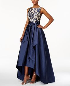 Adrianna Papell Embroidered-Lace Tafetta Gown