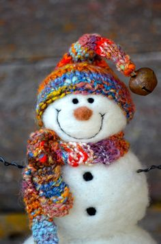 Snowman handmade Needle Felted wool Snowmen by BearCreekDesign