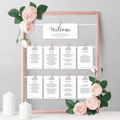 Create an original seating plan for your wedding using these printable seating cards. Fix them to a nice picture frame or ornate mirror. Printable seating cards for your table plan. Table Seating Chart, Wedding Table Seating, Seating Cards, Wedding Table Plans, Wedding Table Cards, Diy Table Cards, Wedding Table Assignments, Seating Arrangement Wedding, Wedding Table Numbers
