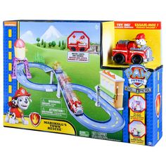 The Paw Patrol is on a roll with Marshall's Town Rescue Track Set! Together, your child's imagination will light up when they recreate their favorite Paw Patrol missions with Marshall's motorized fire truck with real lights and sounds. Push the button on the back of Marshall's vehicle to activate the motor, lights, and sounds. Oh no — there's a burning building in Adventure Bay! Good thing Marshall is ready to save the day! Save the ...