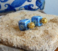 Portugal Antique Azulejo Tile Replica FRONT BACK EARRINGS by Atrio
