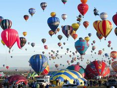 Massive parties everyone should go to in their lifetime - The Albuquerque International Balloon Fiesta in Albuquerque, New Mexico, is the world's largest hot air ballooning event. Crowds gather for nine days around October as hundreds of balloons fly over the Sandia Mountains.