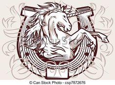Illustration about Medieval horseshoe design featuring a unicorn. Illustration of rearing, horseshoe, animal - 31919014 Horse Outline, Cowboy Invitations, Medieval, Free Tattoo Designs, Romantic Cards, Charro, Clip Art, Leather Pattern, Horseshoe Art