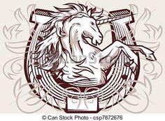 Vecteur - licorne, fer cheval, crête - Banque d'illustrations, illustrations libres de droits, banque de clip art, icônes clipart, logo, image EPS, images, graphique, graphiques, dessin, dessins, image vectorielle, oeuvre d'art, art vecteur EPS