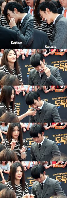 The Theives movie premiere on 12.7.24 Jun Ji Hyun gave a fan the marker back after KSH had it in his mouth.