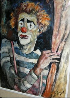 """#DiegoVoci™ """"Clown"""" by Diego in the 60's was purchased by Kevin's parents. He now owns the Bernard Buffet like clown in Victoria, B.C. This oil on canvas measures 32""""x 24"""". Featured as Painting of the Week in 2013: http://www.artifactcollectors.com/diego-voci-painting-of-the-week-5154118/Page4.html#118"""