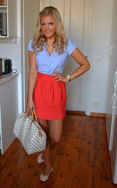 coral/poppy pleated skirt, blue button down blouse, canvas flats