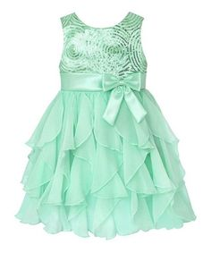 4ce74fadb Look at this American Princess Green Sequin Swirl Ruffle Dress - Infant,  Toddler & Girls on today!