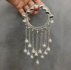 Ready to Ship Silver-Toned Jhaalar Bangle Jhumka Bangle Fancy Jewellery, Silver Jewellery Indian, Stylish Jewelry, Silver Jewelry, Fashion Jewelry, Silver Ring, Indian Earrings, Silver Earrings, Diamond Earrings