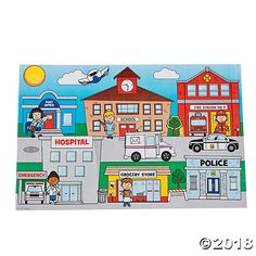 Give children a glimpse into their communities with these sticker scenes featuring the post office, school, fire station, hospital, grocery store and a police ...