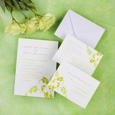 Simple green printable damask wedding invites EWI193 as low as $0.94