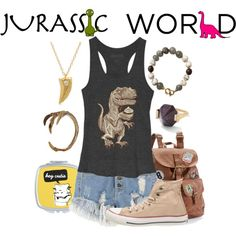 Jurassic World Inspired by snakeinmyboots on Polyvore featuring Converse, Mudd, Monique Péan, Elisabeth Bell, dinosaur, jurassicpark, raptor, jurassicworld and velociraptor