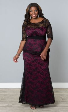 Plus Size Astoria Lace Peplum Gown - Black Lace Magenta - Curvalicious Clothes TAKE 15% OFF! Use code: FALL15