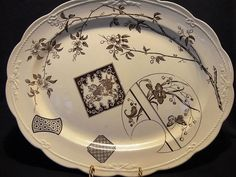 """Wonderful 16"""" English Aesthetic Platter / Tray ~ Brown Transferware with Lion, Butterfly & Flowers ~  POWELL & BISHOP / (Powell, Bishop & Stonier  ) Staffordshire, UK) 9/10/1881"""