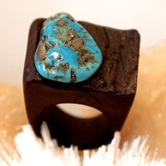 Wooden Turquoise Ring now featured on Fab.