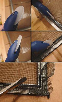 painting storm windows and replacing screens. bleh job, but helpful tutorial! Aluminum Storm Windows, Aluminum Screen, Sash Window Repair, Door Sixteen, Basement Windows, Diy Home Repair, Window Screens, Home Repairs, Diy Home Improvement