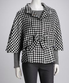 Take a look at this Black & White Houndstooth Cape-Sleeve Coat by Luii on #zulily today!