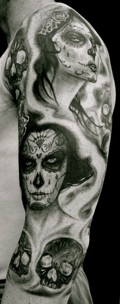 33 Trendy tattoo sleeve day of the dead hair Trendy Tattoos, Love Tattoos, Beautiful Tattoos, Body Art Tattoos, Small Tattoos, Girl Tattoos, Amazing Tattoos, Beautiful Body, Tatoos
