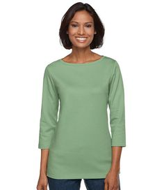Bean's Tee, Three-Quarter Sleeve Boatneck Tunic: any color except strawberry pink, trillium red, or elerberry