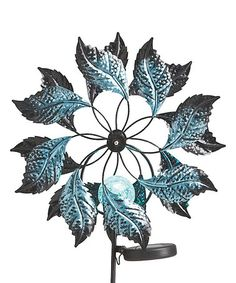 Another great find on #zulily! 37'' Blue Metal Solar Kinetic Leaf Stake #zulilyfinds