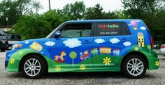 Custom car graphics for KidsTown an indoor playground near Chicago.