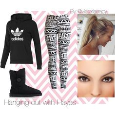 Adidas Sweatshirt, Tribal Print Leggings, and Uggs