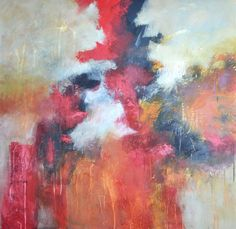 """ARTFINDER: No Regrets by Filomena Booth - This large abstract expressionist painting on a textured canvas measures 36""""x36"""". It is gallery-wrapped on 1.5"""" deep bars. The sides are painted in a rich ..."""