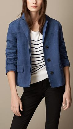 Burberry Brit Dark Canvas Blue Single-Breasted Nubuck Jacket -  A single-breasted jacket in soft nubuck.  The design features set-in sleeves and topstitch detail.  Discover the women's outerwear collection at Burberry.com