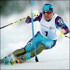 Italy's Olympian Alberto Tomba.  Tomba was a dominant star of  Slalom and Giant Slalom skiing in the late 80s and into the 90s.  He was also a reputed playboy and a bombastic personality. /NSC