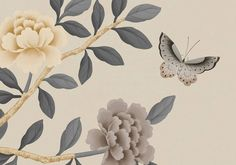 florent printed chinoiserie wallpaper in wedgewood Chinoiserie Wallpaper, Residential Interior Design, Oriental Design, Southern Comfort, Pattern Wallpaper, Home Art, Printing On Fabric, Barrington Hall, Creative