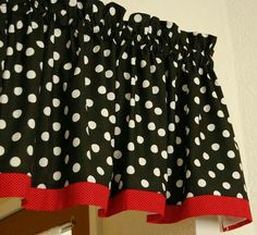 Retro Mickey Black White Polka Dot Custom Lined Window Valances Curtains one… Red Classroom, Mickey Mouse Classroom, Polka Dot Classroom, Mickey Mouse Kitchen, Disney Classroom, Classroom Design, Preschool Classroom, Classroom Themes, In Kindergarten