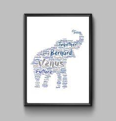 Elephant personalised art print  Elephant print by pienosudesigns