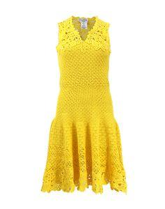 Outstanding Crochet: Drop Waist Crochet Dress from OSCAR DE LA RENTA